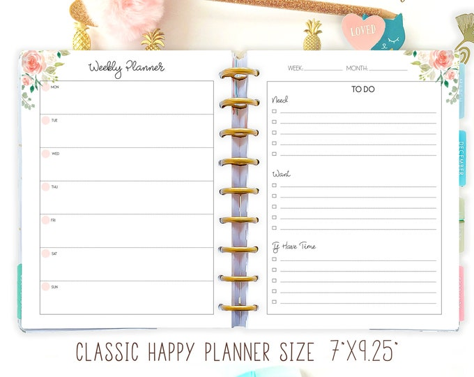 Weekly Planner Printable To Do List made to fit Happy Planner 2021 Weekly Agenda