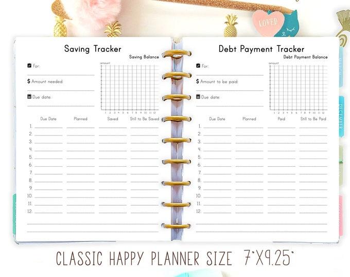 Happy Planner Debt Snowball Saving Tracker Debt Payment Tracker Inserts Money Goals Financial Printable PDF Made To Fit Erin Condren Planner