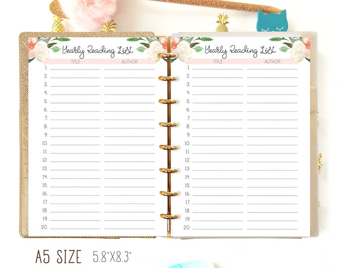 Reading List A5 Planner Refill, Reading Log Printable A5 Filofax Inserts