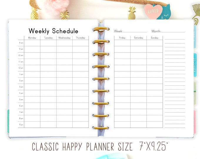 Happy Planner Hourly WEEKLY SCHEDULE Printable PDF Mambi Insert Hourly Planner Homeschool Planner Made to Fit Erin Condren Planner
