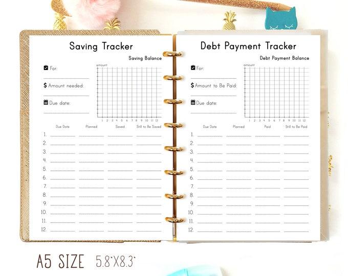 Budget Planner A5, Saving Tracker, debt tracker, Filofax A5 inserts, Financial Planner,
