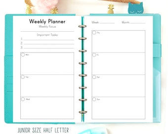 Weekly Planner Pages, Week on two Pages, Printable Half Size Pages Filofax Refills