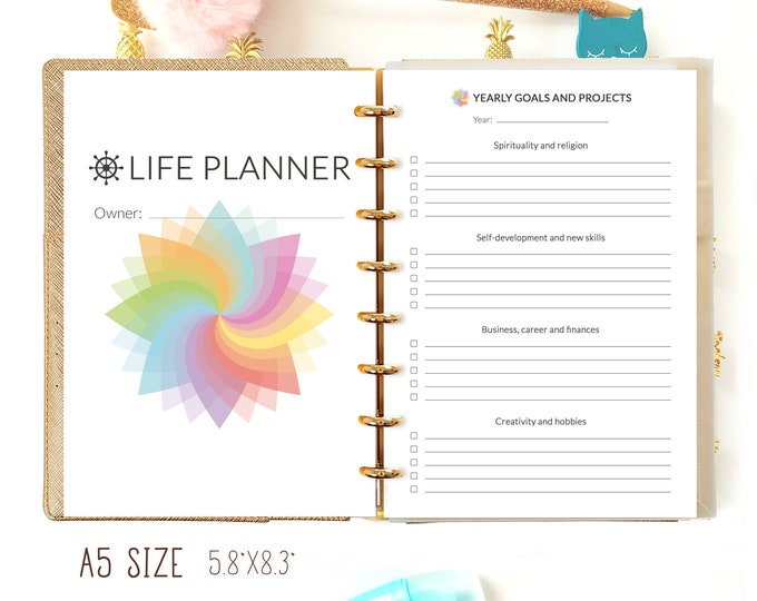 Life Planner Pages A5, Filofax A5 inserts, Weekly Planner Pages Printable