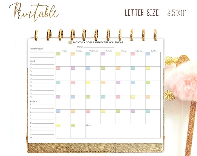 Monthly Planner Letter Size Planner Monthly To Do List for Big Happy Planner Inserts