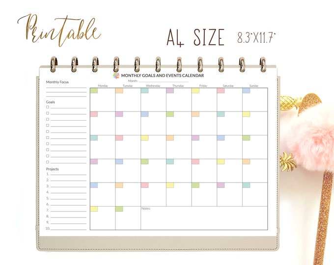 Monthly Planner, Monthly Organizer, Monthly To Do List Printable, Binder Inserts