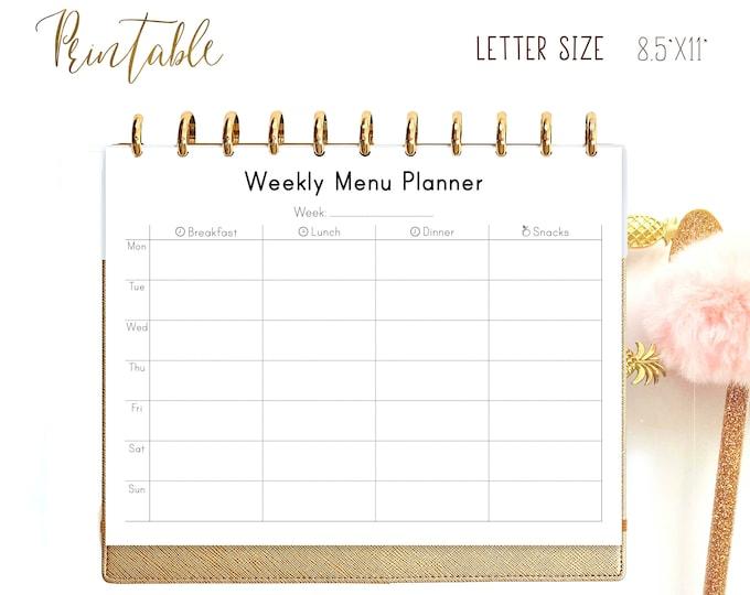 Menu Planner, Big Happy Planner Inserts, Letter Size Planner, Meal Planner Printable