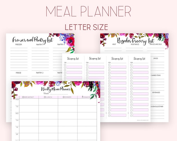 Weekly Menu Planner and Grocery list, Meal Planner, Shopping List, Big Happy Planner Inserts.
