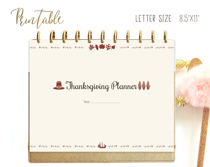 Thanksgiving Planner Letter Size Meal Planner for Big Happy Planner Inserts