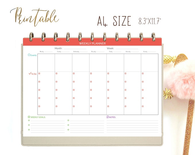 Weekly Planner Pages, Weekly Goals Planner, Weekly Agenda, Printable To Do list, Binder Inserts