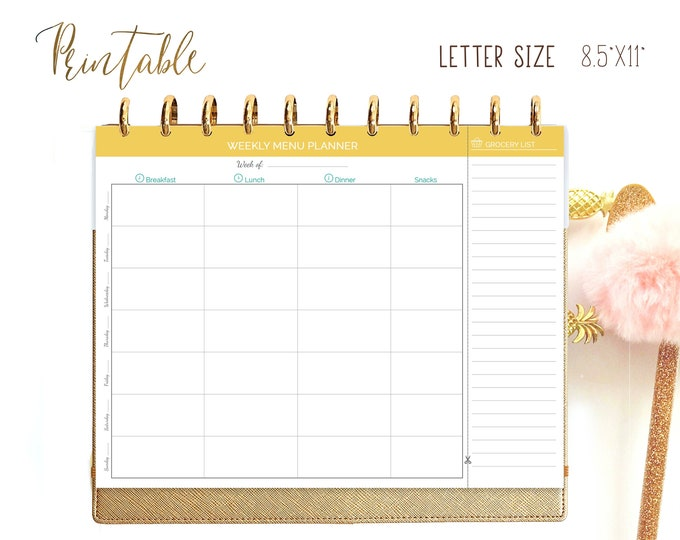 Weekly Meal Planning Printable Big Happy Planner Inserts, Food Planner.