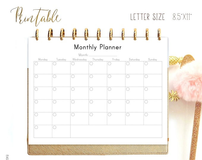 Monthly Planner Printable To Do List, Month at a Glance made to fit Big Happy Planner Inserts.