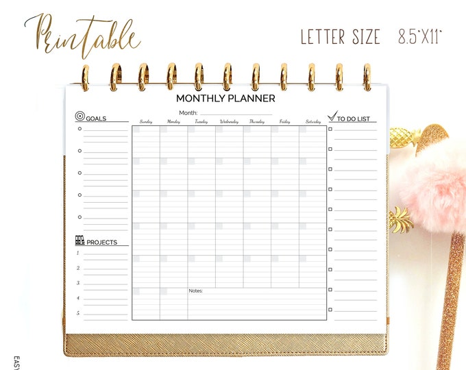 Monthly Planner Big Happy Planner Printable Lined Letter Size Undated Monthly To Do Monthly Wall Calendar Monthly Agenda Sunday Start
