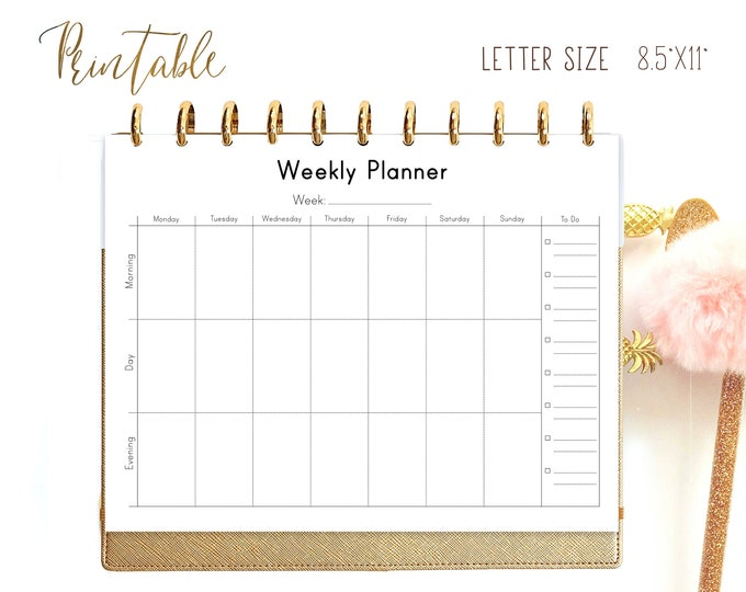 Weekly Planner Pages, Weekly Agenda Printable WO1P, made to fit Big Happy Planner Inserts