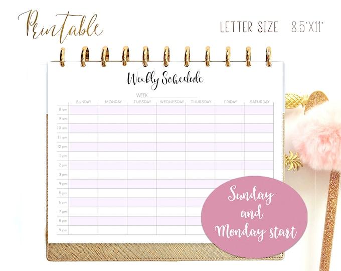 Weekly Schedule, Weekly Hourly Planner, Big Happy Planner Inserts, Weekly Agenda Printable