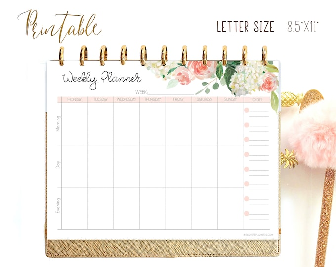 Weekly Agenda, Weekly Planner Pages, Big Happy Planner Inserts, Weekly, WO1P, Printable