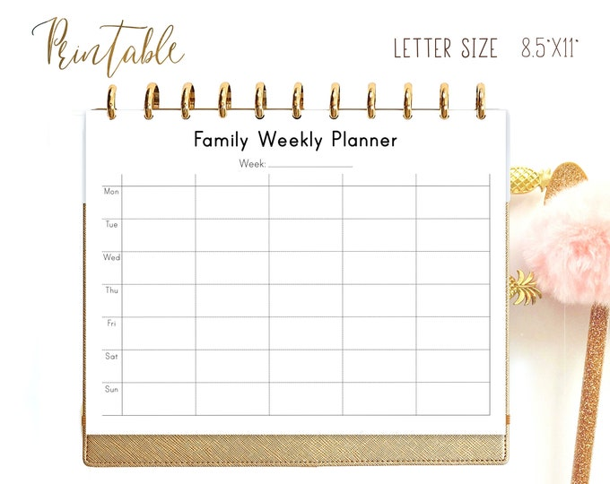 Family Organizer, Weekly Planner Pages Printable for Big Happy Planner Inserts