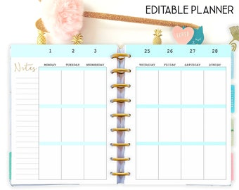 Happy Planner Template Weekly Planner Pages, Weekly Layout, Editable Planner Printable