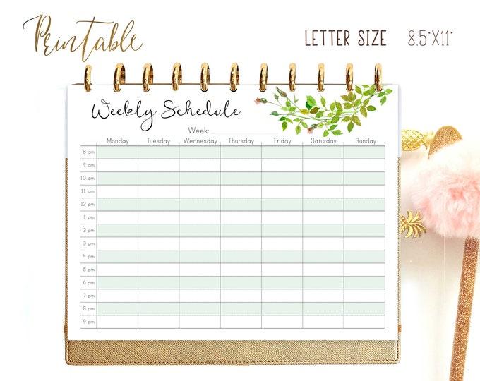 Weekly Schedule, Weekly Planner Pages, Big Happy Planner Inserts, Weekly Agenda Printable
