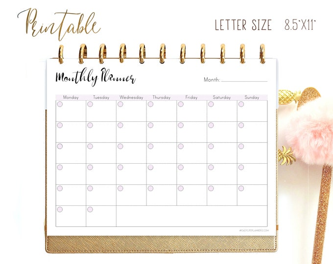 Monthly Planner Printable, Binder Inserts, Monthly Layout, Big Happy Planner Inserts, Mo1P