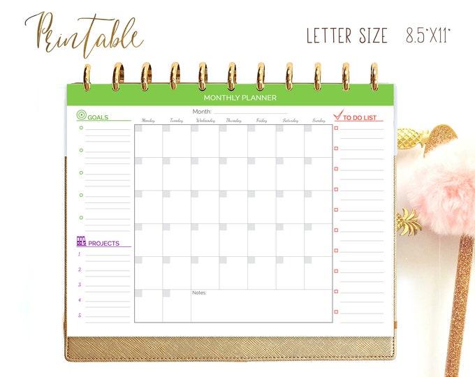 Monthly Planner Printable Undated Planner Big Happy Planner Inserts Sunday Start