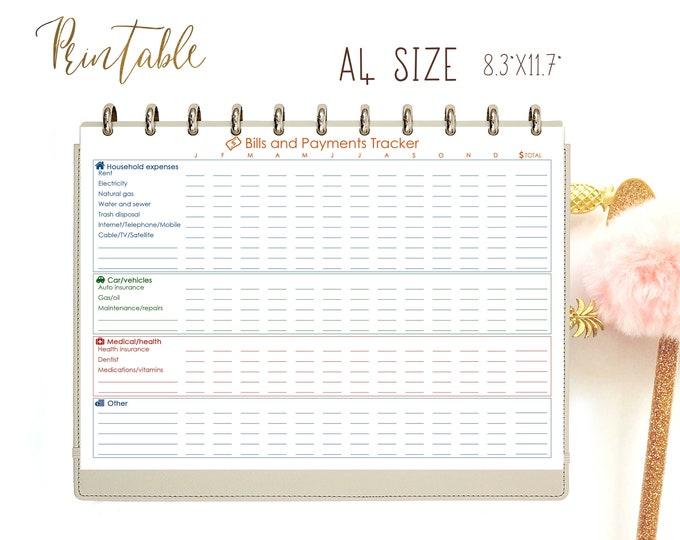 Monthly Budget Planner Printable, Spending Tracker, Expenses Tracker, Bill Due Planner