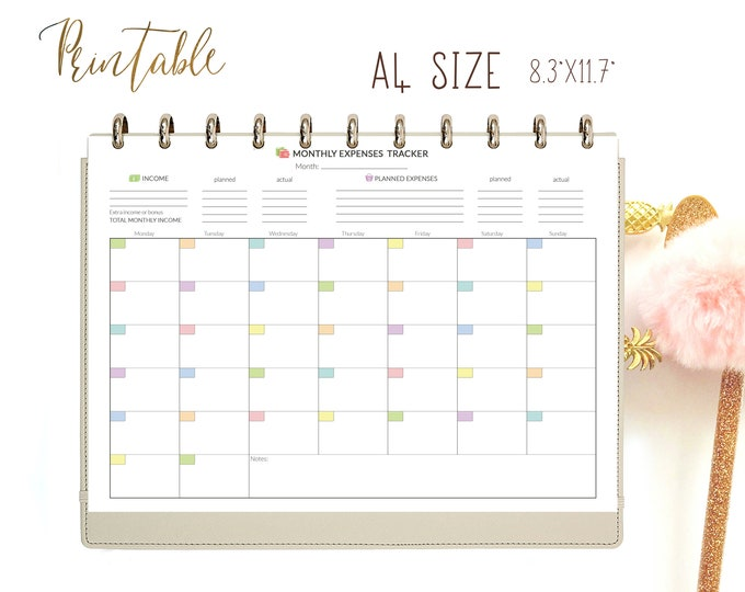 Expense Tracker, Monthly Budget Planner A4 financial planner, Finance Printable