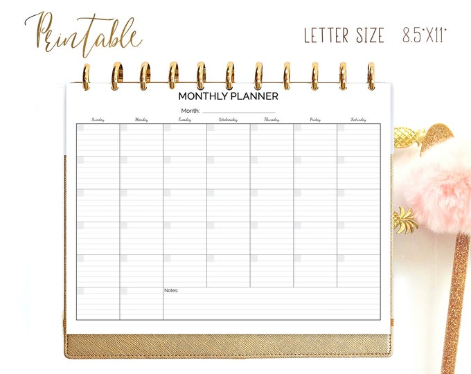 Monthly Planner, made to fit Big Happy Planner Inserts Printable,  Letter Size Planner,