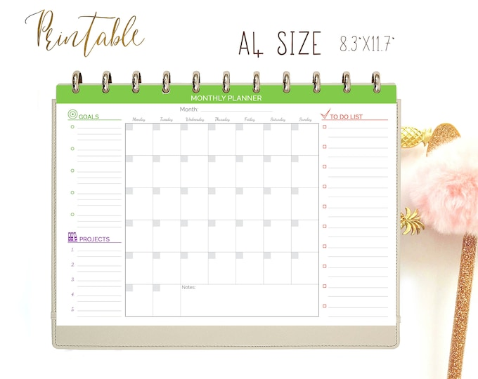 Monthly Agenda, Monthly To Do List, Monthly Planner Printable Binder Inserts