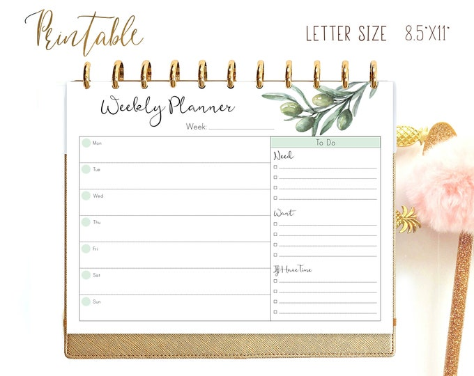 Weekly Planner Pages Printable Big Happy Planner Inserts, Weekly Agenda, wo1p