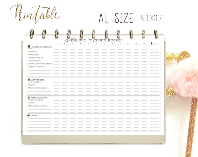 Bills Tracker Expenses Printable Black and White PDF A4 Bill Payments Expenses Tracker Financial Worksheet Bill Checklist. Instant download.