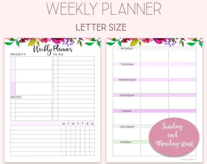 Weekly Planner Pages, Big Happy Planner Inserts, Printable Weekly Agenda, WO1P.