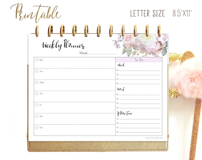 Weekly Planner Pages, Letter Size Planner, Weekly Agenda Printable, Cute Planner