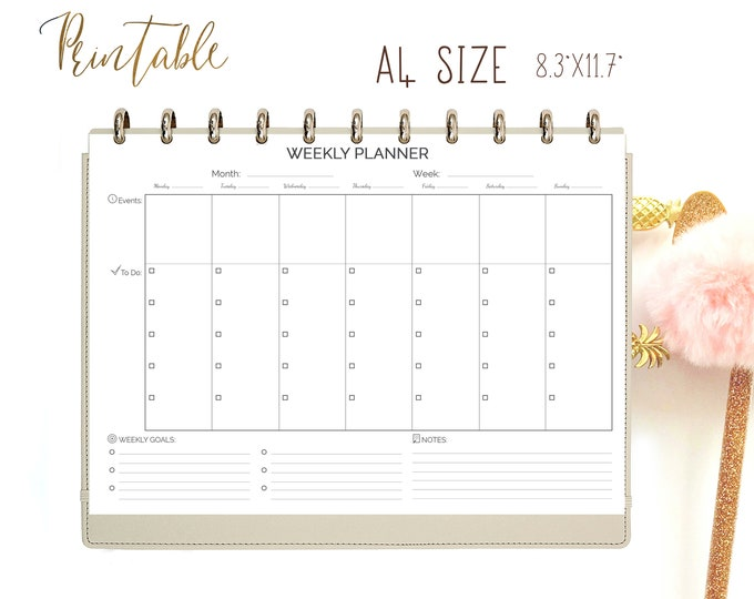 Weekly Planner Pages Printable Planner, Weekly To Do List, A4 Planner Insert