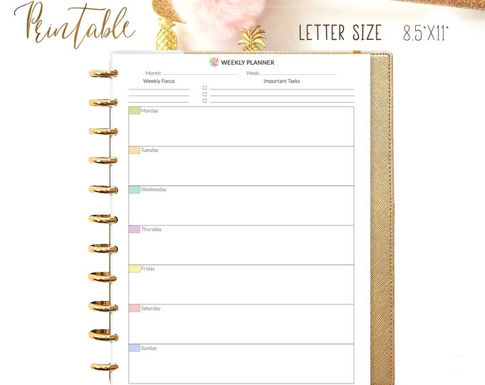 Weekly PLanner Letter Size 8.5x11 Dateless Printable PDF Vertical Weekly Organizer Calendar Weekly Agenda Weekly Tasks. Instant Download