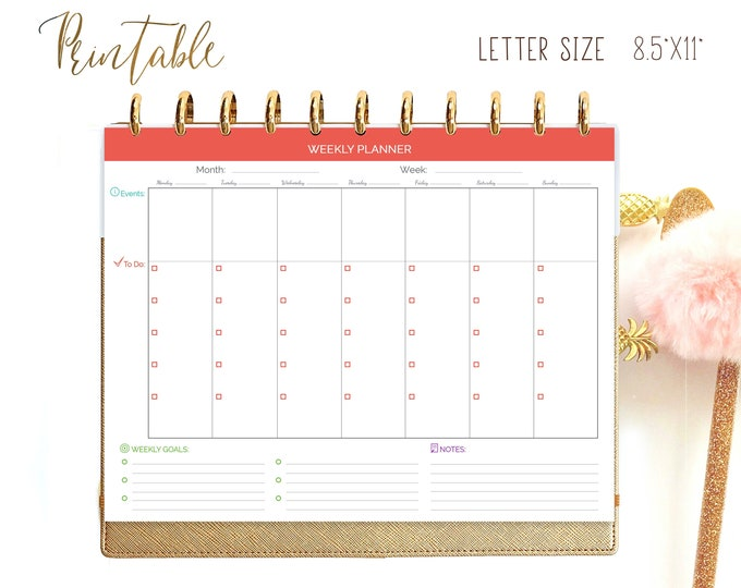 Weekly Planner Printable made to fit Big Happy Planner Inserts 2021 Planner