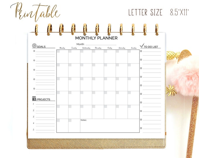 Monthly Planner Printable Big Happy Planner Inserts, Letter Size Planner Mo1p