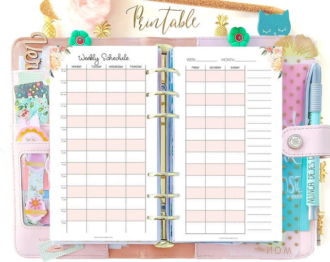 Hourly Weekly Planner, Wo2p Personal Size Planner Inserts, Printable Organizer