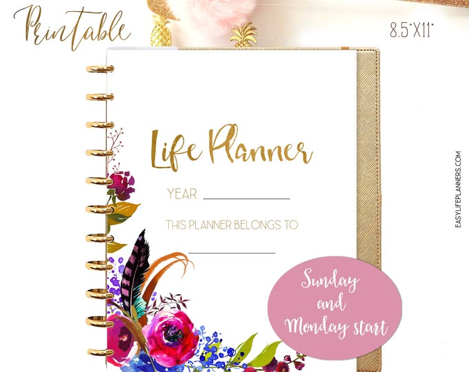 Life Planner 2021, Printable Planner Pages, 8.5 x 11 Big Happy Planner Inserts Monday Start and Sunday Start Planner