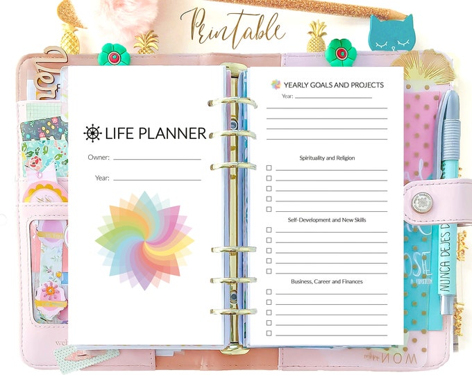 Life Planner 2021, Personal Size Planner Inserts Printable, Daily Planner Pages