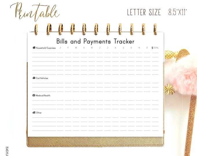 Bills Tracker, Letter Size Planner, Family Budget, Big Happy Planner Inserts Printable