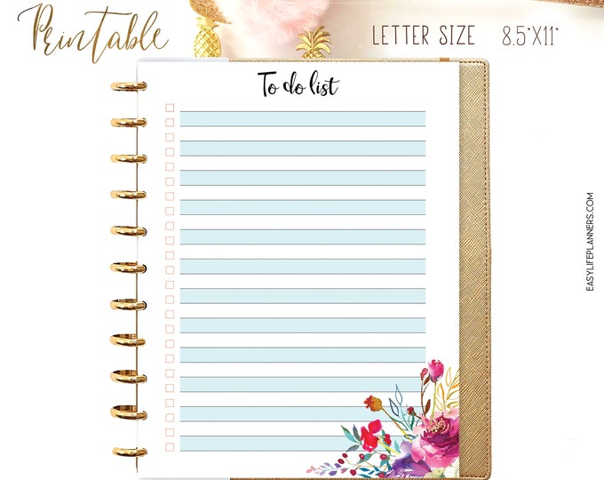 To Do List Printable, To do list planner, Big happy Planner Inserts, Letter Size Planner