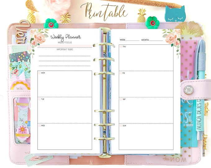 Weekly Planner Pages, Week On 2 Pages, WO2P Personal Filofax Printable Planner, Weekly Agenda