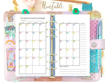 Monthly Planner 2021, Personal size planner insert, filofax refills Printable