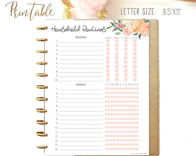 Cleaning Printable, Cleaning list, Big Happy Planner Inserts, Household binder, Cleaning Check list Printable