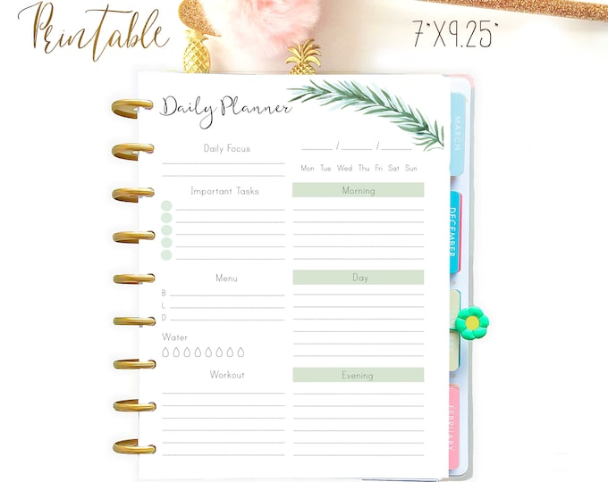 Daily Planner Pages made to fit Happy Planner Printable Insert and Erin Condren Insert