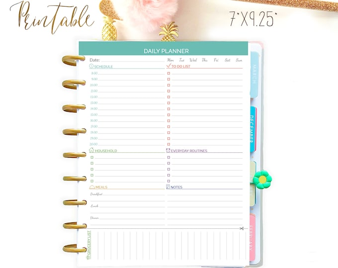 Daily Planner Printable To Do List Made to Fit Erin Condren and Happy Planner Inserts