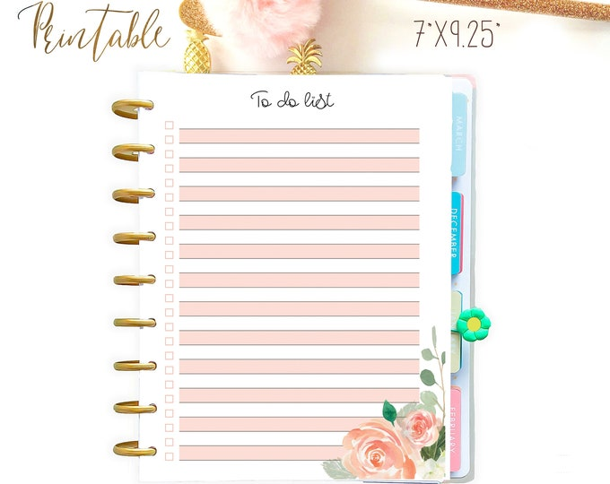 Printable To Do List, Life Organizer, made to fit Happy Planner Inserts Printable, DIY planner