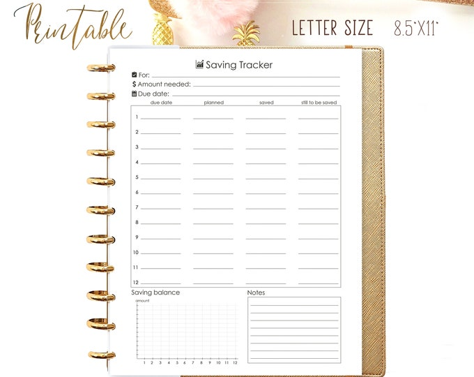 Debt Payment Big Happy Planner Inserts Savings Tracker Letter Size Planner, Budget Planner Printable