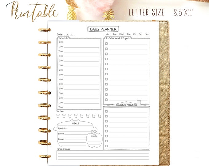 Daily Planner Pages, Printable To Do list Daily Agenda Daily Meal Plan made to fit Big Happy Planner Inserts.
