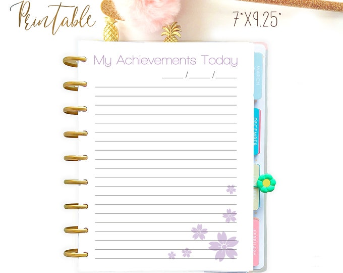 My Achievements 7 x 9.25 Printable Happy Planner Insert Made to Fit Erin Condren Insert